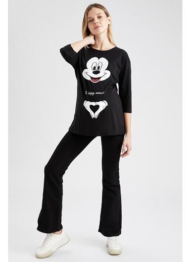 DeFacto Hamile Mickey Mouse Lisanslı Sweatshirt Siyah